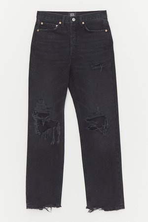 BDG Premium High-Waisted Straight Leg Jean – Distressed Black Denim | Urban Outfitters
