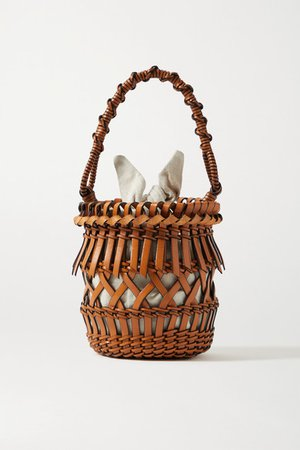 Fringes Woven Leather Tote - Tan