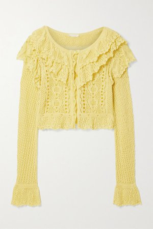 Seraphine Cropped Ruffled Crocheted Cotton Cardigan - Yellow