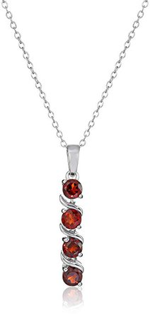 Sterling Silver Four Stone Pendant Necklace