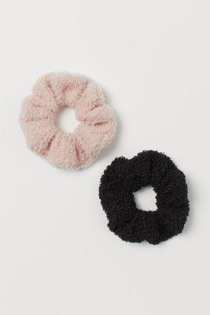2-pack Scrunchies - Black/powder pink - Ladies | H&M US