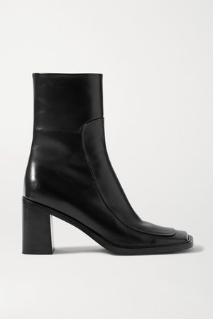 Patch Paneled Leather Ankle Boots - Black