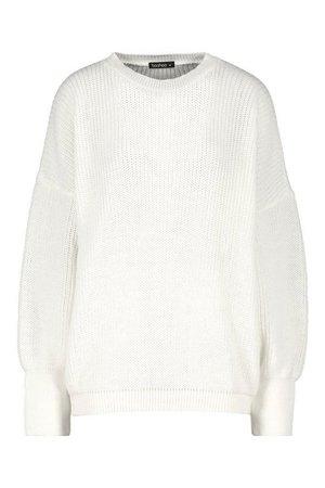 Oversized Knitted Dress   Boohoo white