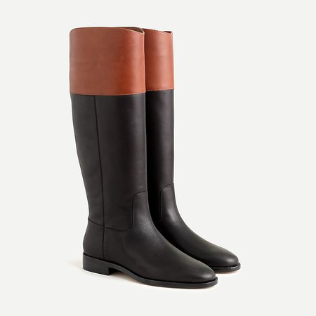 J.Crew: Tall Leather Riding Boots For Women brown black