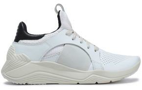 Perforated Leather And Mesh Sneakers