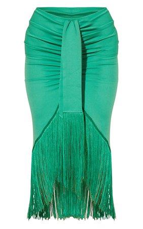 Bright Green Tassel Hem Midi Skirt   PrettyLittleThing USA