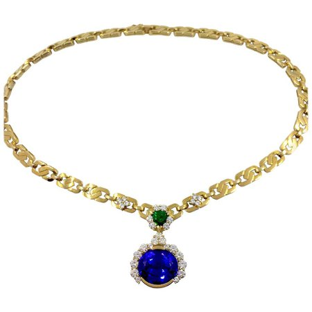 Unique Tanzanite Tsavorite Diamond Yellow Gold Necklace For Sale at 1stDibs