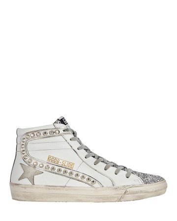 Golden Goose Slide Leather High-Top Sneakers   INTERMIX®