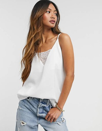 River Island lace insert satin cami top in white   ASOS