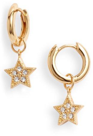 Celestial Star Charm Huggie Hoop Earrings