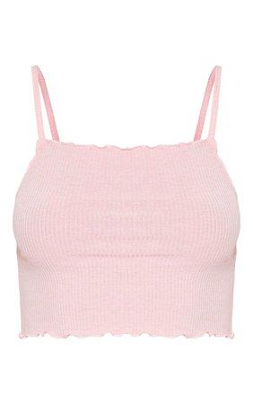 Basic Baby Pink Rib Strappy Frill Hem Cami Top   PrettyLittleThing