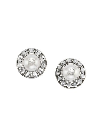 Gucci Interlocking G Pearl And Crystal Earrings - Farfetch