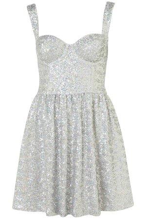 Topshop Disco Sequin Prom Dress