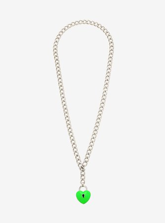 Lime Green Heart Padlock Chain Necklace