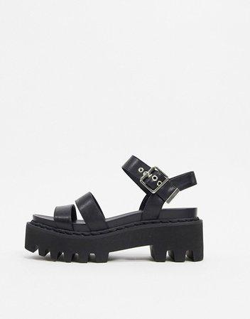 Lamoda chunky sandals in black   ASOS