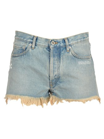 Off White Off-white Frayed Jean Shorts