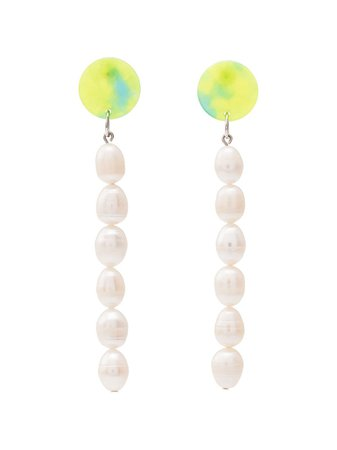 Aym Green Amethyst And Pearl Drop Earrings Ss20 | Farfetch.com