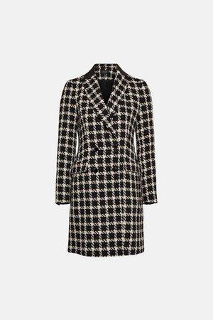 Houndstooth PU Collar Coat   Karen Millen