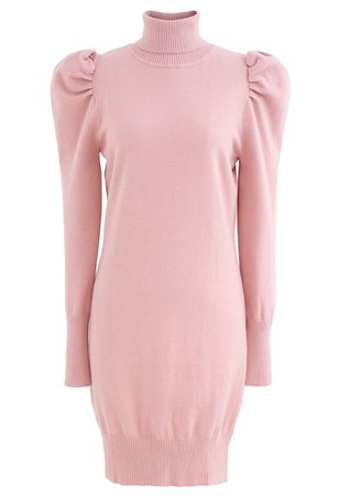 Bubble Shoulder Turtleneck Sweater Dress in Pink - Retro, Indie and Unique Fashion