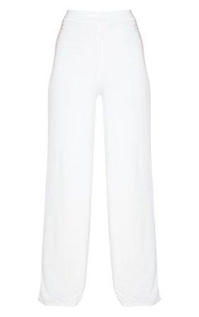 Cream Slinky Detail Wide Leg Trouser | PrettyLittleThing