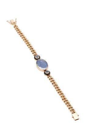 Moritz Glik 18K Gold Enamel And Spinel Bracelet