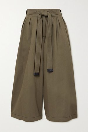 Belted Cropped Cotton And Linen-blend Wide-leg Pants - Army green