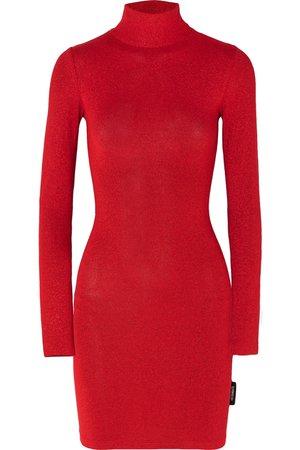 Vetements   Metallic stretch-knit turtleneck mini dress   NET-A-PORTER.COM