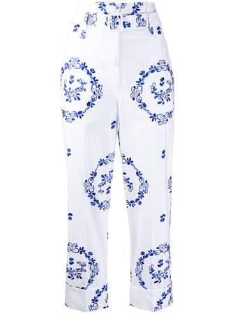 Shop white & blue Simone Rocha floral-embroidered cropped trousers with Express Delivery - Farfetch