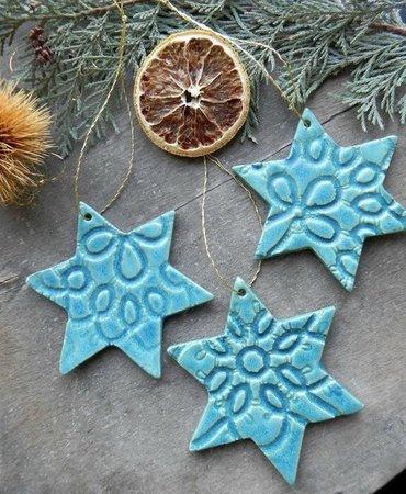 Christmas Stars 3 Lace Ornaments Blue Pottery Gift Medium | Etsy