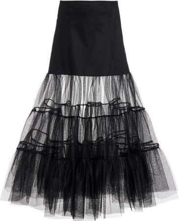Molly Goddard Farly Tiered Tulle Midi Skirt