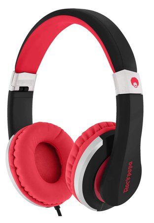 red and black headphones
