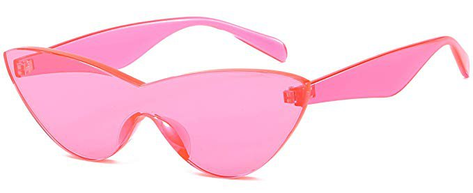 Amazon.com: Colorful One Piece Rimless Transparent Cat Eye Sunglasses for Women Tinted Candy Color Eyewear(Pink): Clothing