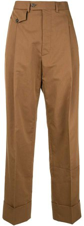 straight-leg front pocket trousers