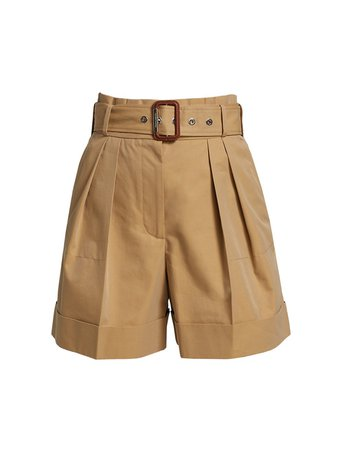 Alexander McQueen Belted High-Waist Cotton Twill Shorts   SaksFifthAvenue