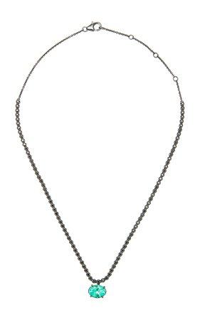 Colette Jewelry Black Diamond Necklace With Emerald