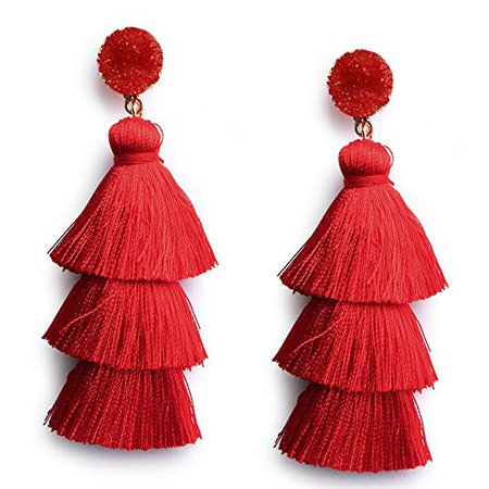 Amazon.com: Me&Hz Red Thread Tassel Earrings Statement Layered Fringe Drop Earrings Chandelier Dangle Studs Christmas Halloween Costumed Earrings: Gateway