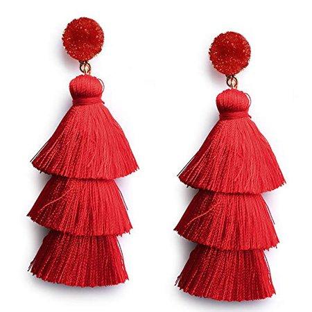 Amazon.com: Me&Hz Red Thread Tassel Earrings Statement Layered Fringe Drop Earrings Chandelier Dangle Studs Christmas Halloween Costumed Earrings: Gateway