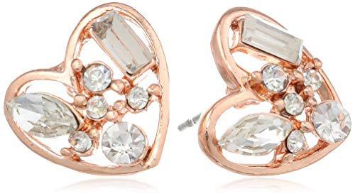 "Betsey Johnson""Iconic Baguette"" Crystal Heart Stud Earrings: Glass Stud Earrings: Clothing"