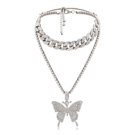Women's Pendant Necklace Cuban Link Butterfly Punk Casual / Sporty Fashion Chrome Black Blushing Pink Gold Silver 40+7 cm Necklace Jewelry For Masquerade Street 8041194 2020 – £15.33