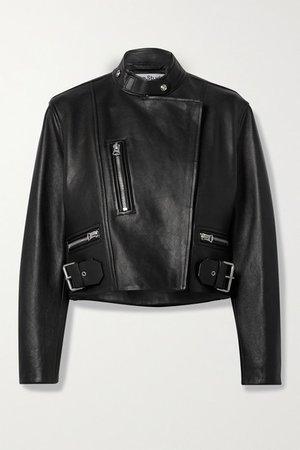 Cropped Leather Biker Jacket - Black
