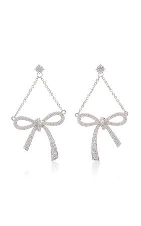 FALLON Silver-Tone Crystal Bow Earrings