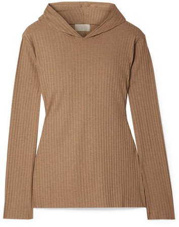 calé - Angelique Ribbed Stretch-jersey Hoodie - Camel