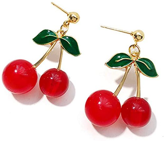 Amazon.com: 18K Gold Plated Fruit Earring 3D Green Leaf Red Cherry Charm Tassel Drop Stud Earrings: Jewelry