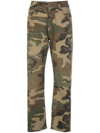 R13 high-rise Camouflage Cropped Trousers - Farfetch