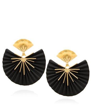 Katerina Makriyianni Black Sparkle Fan Silk Earrings < Katerina Makriyianni List | aesthet.com
