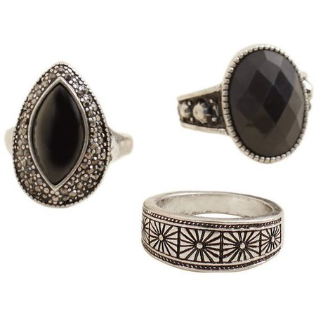 Black BoHo Ring Set