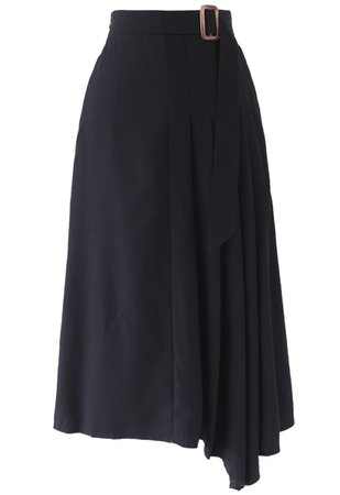 Pleated Details Belted Midi Skirt in White - Retro, Indie and Unique Fashion