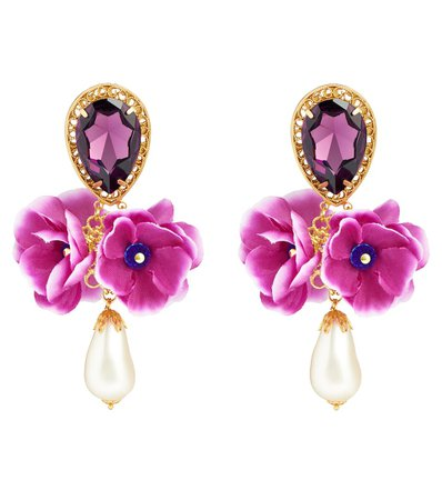 Dolce & Gabbana - Embellished clip-on earrings | Mytheresa