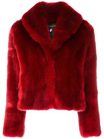 La Seine & Moi Erelle Red Faux Fur Jacket Coat