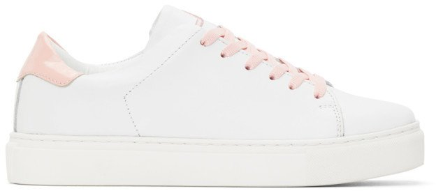 White and Pink Square Toe Sneakers